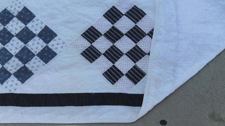Antique Blue and White One  Patch Quilt For Sale 2