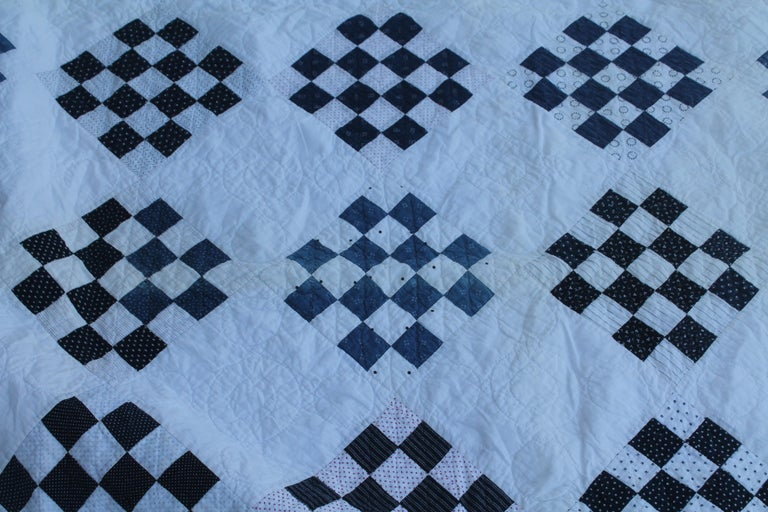 American Antique Blue and White One  Patch Quilt For Sale