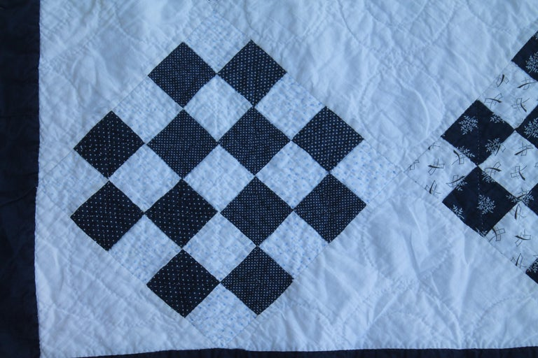 Hand-Crafted Antique Blue and White One  Patch Quilt For Sale