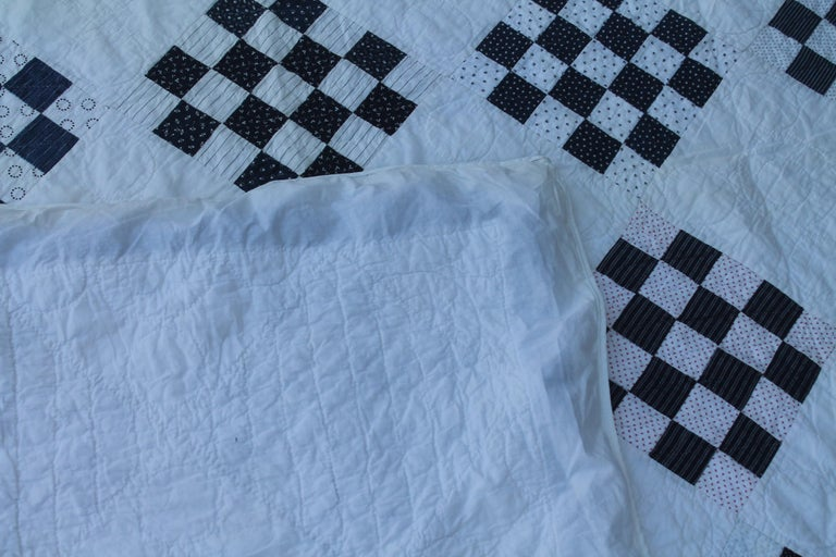 20th Century Antique Blue and White One  Patch Quilt For Sale
