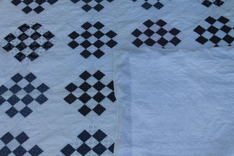 Antique Blue and White One  Patch Quilt For Sale 1