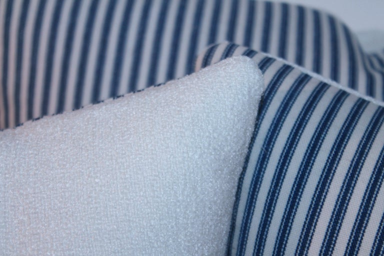 American Antique Blue and White Ticking Pillows, 4 For Sale