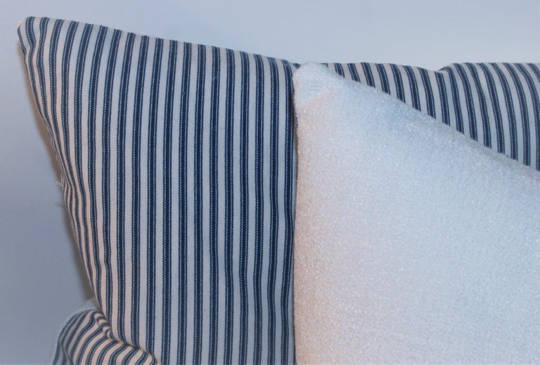 Antique Blue and White Ticking Pillows, 4 In Good Condition For Sale In Los Angeles, CA
