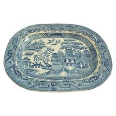 Antique Blue Willow Platter Transfer ware Pottery, England, Circa 1840, 1964