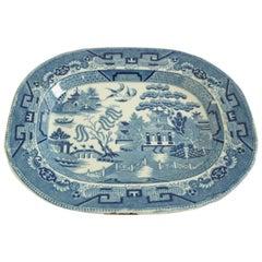 Antique Blue Willow Platter Transferware Pottery, England, circa 1870