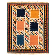 Antique Blue Yellow Square Color Block Caucasian Kilim Flat Weave Geometric Rug