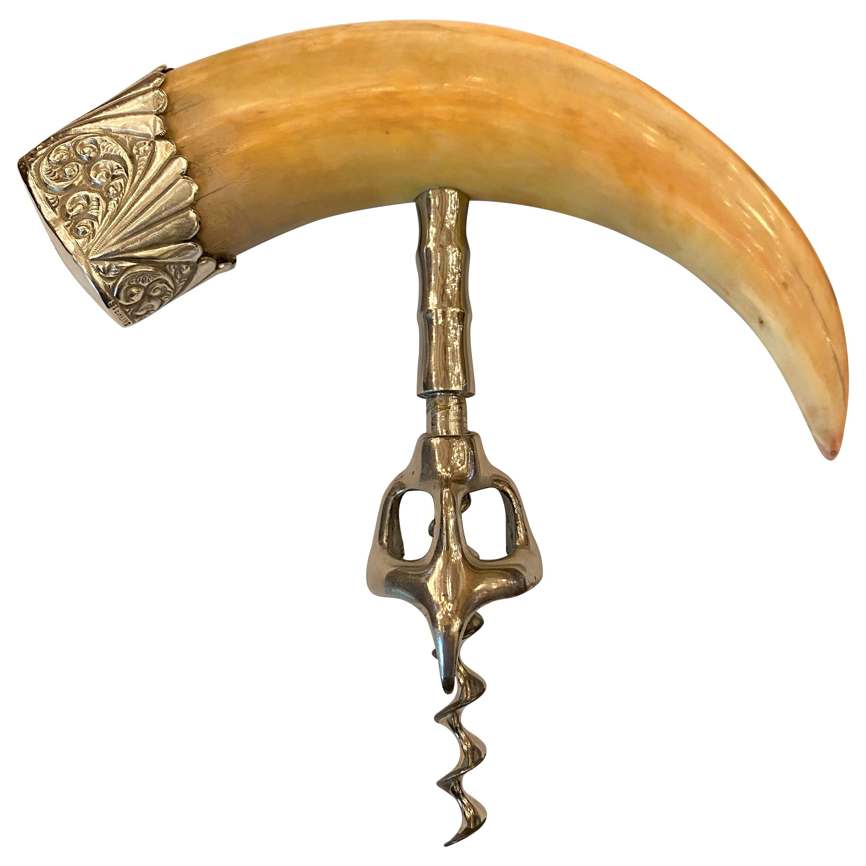 Antique Boar's Tusk Corkscrew with Sterling Silver Mount, circa 1900-1910