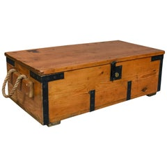 Antique Boat Builders Chest, English, Pitch Pine and Teak Trunk, circa 1900