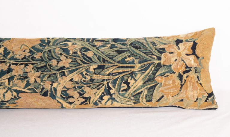 Belgian Antique Body Pillow Case Fashioned from an 18th Century Flemish Tapestry