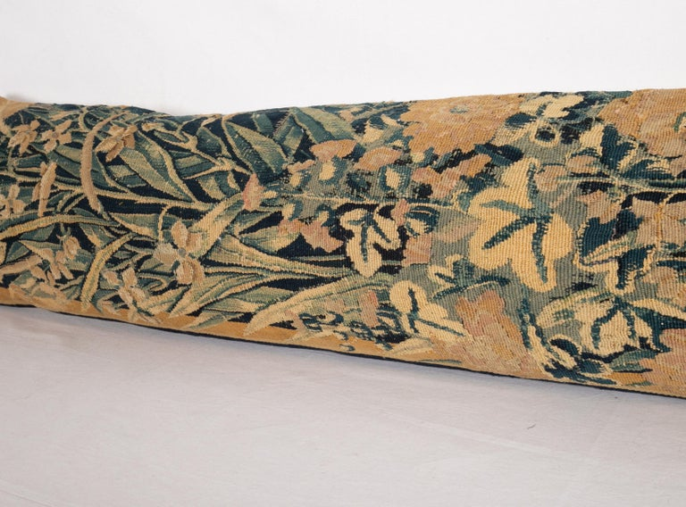 Wool Antique Body Pillow Case Fashioned from an 18th Century Flemish Tapestry