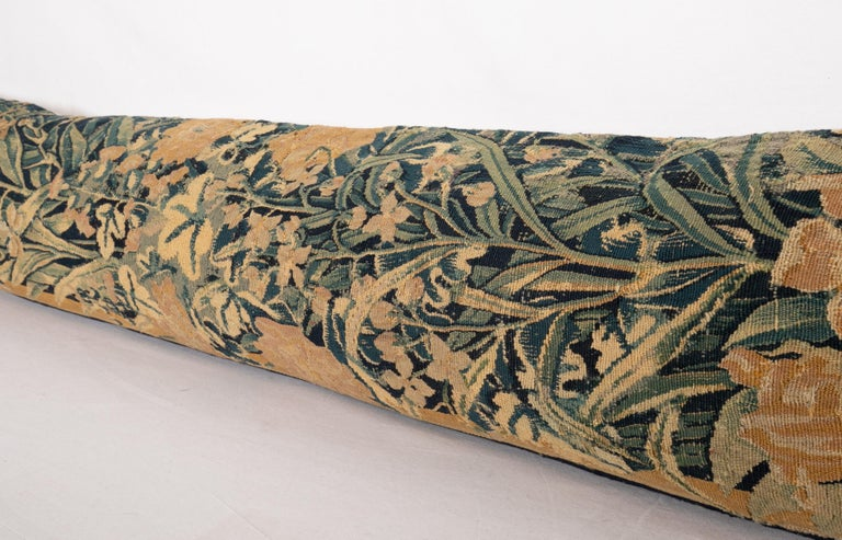 Antique Body Pillow Case Fashioned from an 18th Century Flemish Tapestry 1
