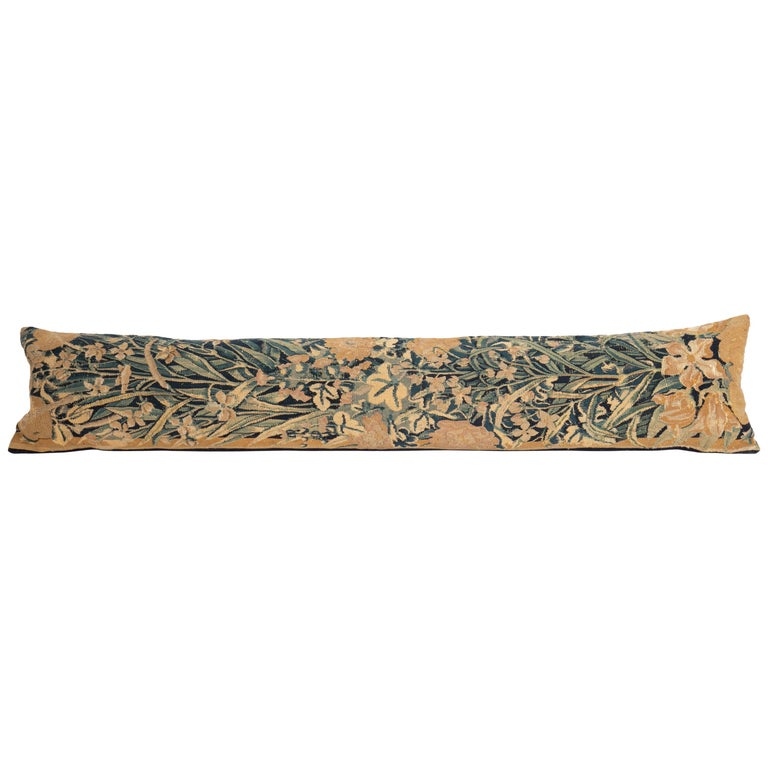 Antique Body Pillow Case Fashioned from an 18th Century Flemish Tapestry