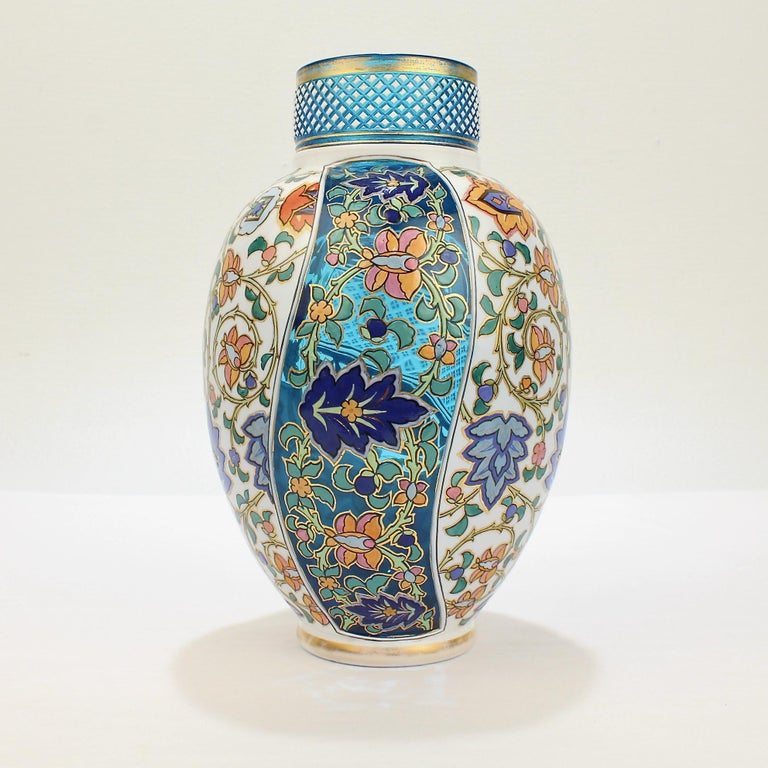 Czech Antique Bohemian Aesthetic Movement Cased Blue and White Enameled Cut Glass Vase For Sale