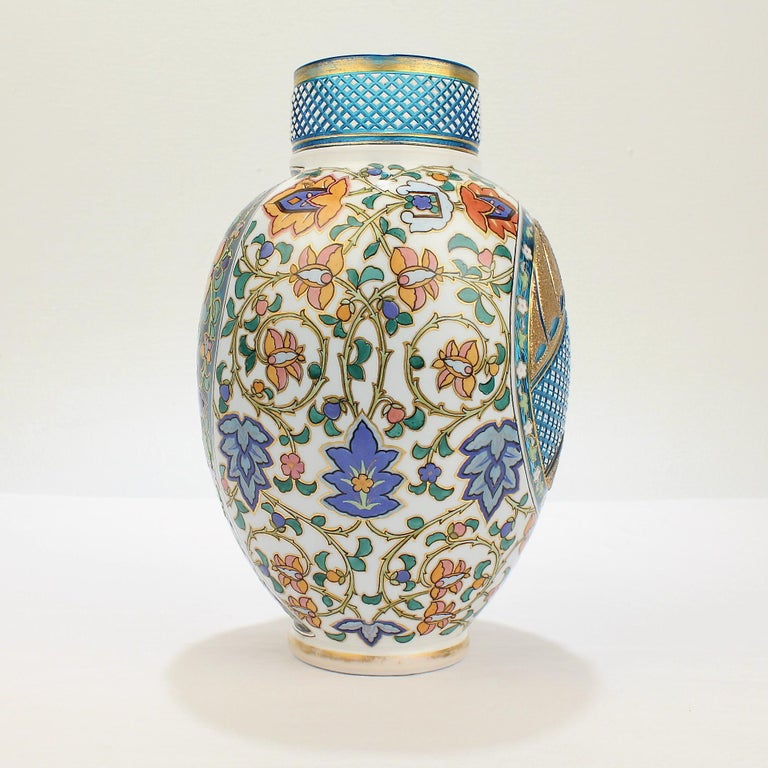Antique Bohemian Aesthetic Movement Cased Blue and White Enameled Cut Glass Vase In Good Condition For Sale In Philadelphia, PA