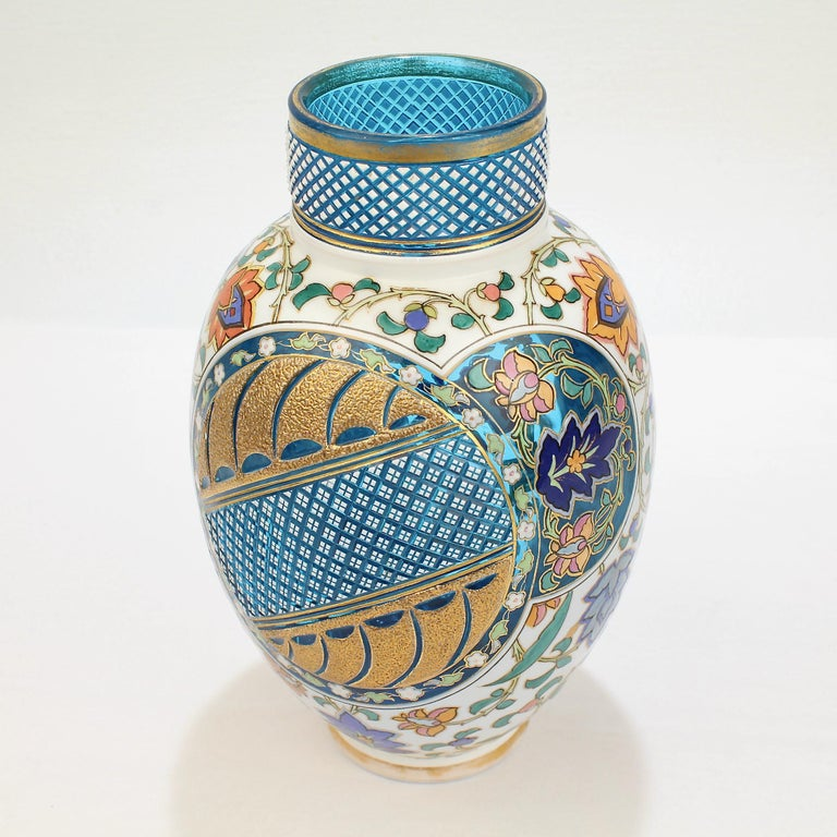 19th Century Antique Bohemian Aesthetic Movement Cased Blue and White Enameled Cut Glass Vase For Sale
