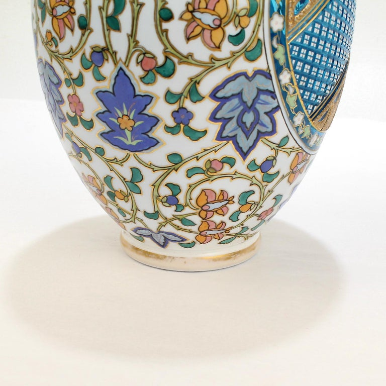 Antique Bohemian Aesthetic Movement Cased Blue and White Enameled Cut Glass Vase For Sale 1