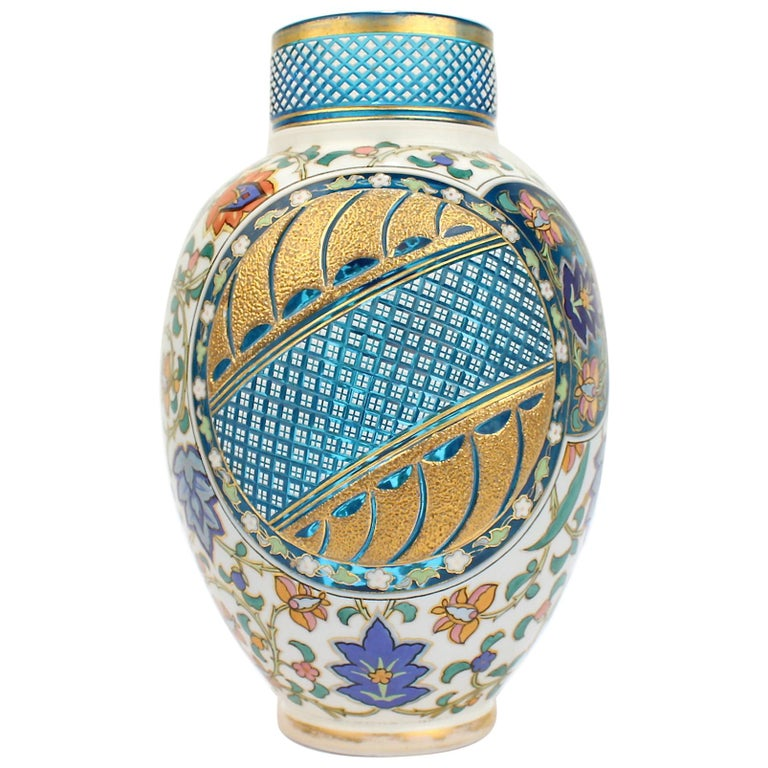 Antique Bohemian Aesthetic Movement Cased Blue and White Enameled Cut Glass Vase For Sale
