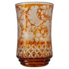 Antique Bohemian Amber Orange Cut Crystal Vase