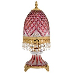 Antique Bohemian Crystal Table Lamp