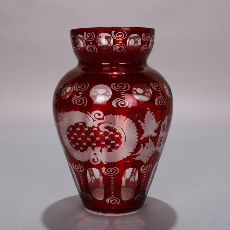 Antique Czech Bohemian Egermann cranberry ruby cut to clear vase features stag and castle hunt scene with swirl and thumbprint decoration, circa 1880  ***DELIVERY NOTICE – Due to COVID-19 we are employing NO-CONTACT PRACTICES in the transfer of