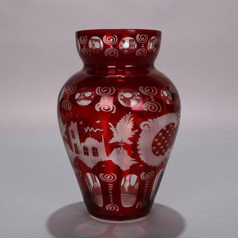 Czech Antique Bohemian Egermann Cut to Clear Stag & Castle Hunt Scene Vase, circa 1880 For Sale