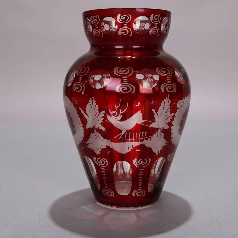 19th Century Antique Bohemian Egermann Cut to Clear Stag & Castle Hunt Scene Vase, circa 1880 For Sale