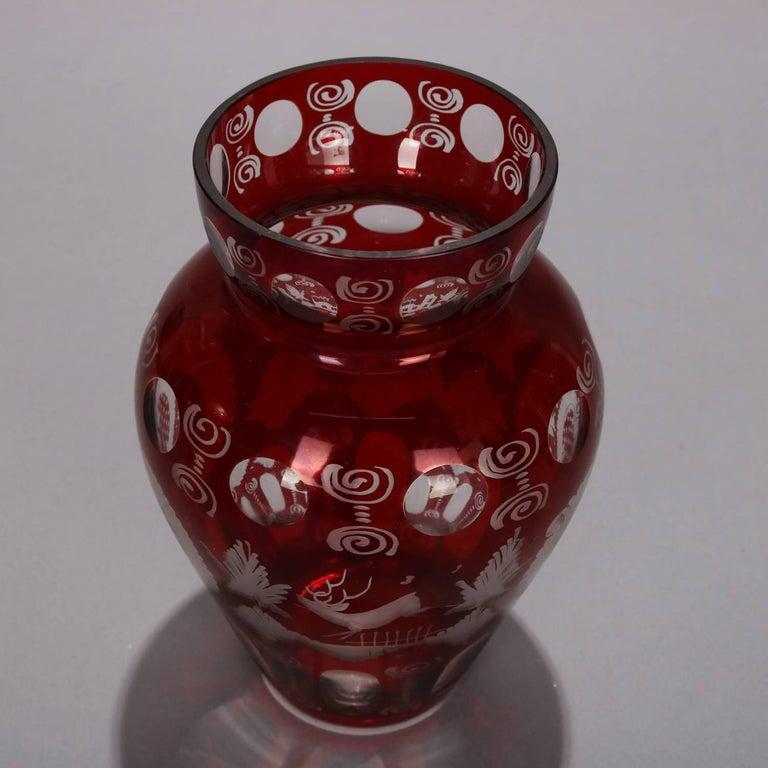 Glass Antique Bohemian Egermann Cut to Clear Stag & Castle Hunt Scene Vase, circa 1880 For Sale