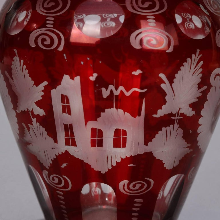 Antique Bohemian Egermann Cut to Clear Stag & Castle Hunt Scene Vase, circa 1880 For Sale 3
