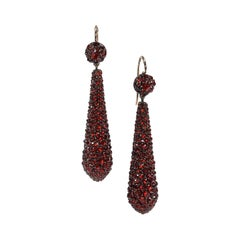 Antique Bohemian Garnet Silver and Gold Earrings, Circa 1890