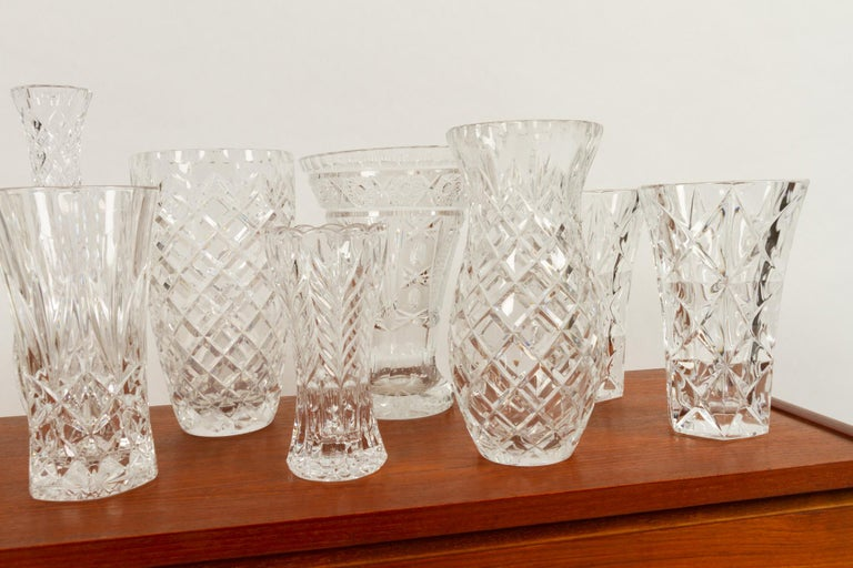 Antique Bohemian Lead Crystal Vases Set of 10 For Sale 5