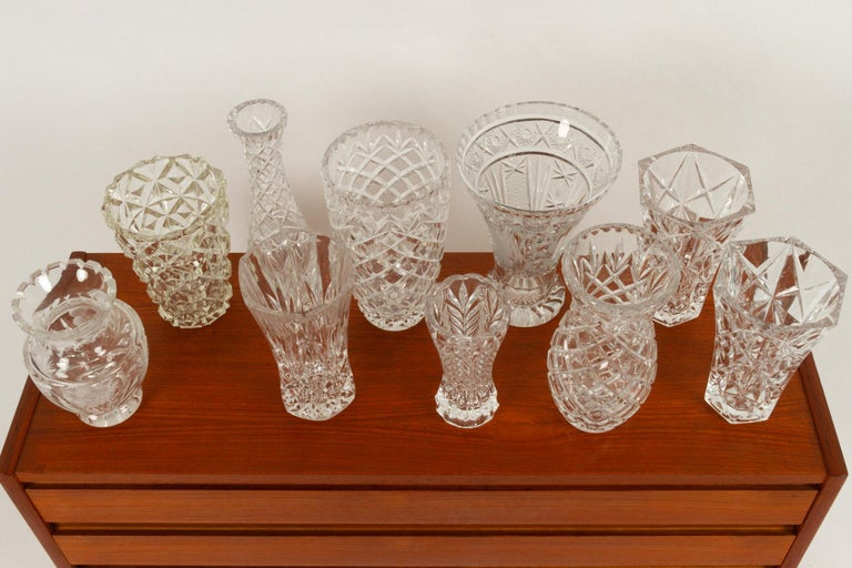 Antique Bohemian Lead Crystal Vases Set of 10 For Sale 6