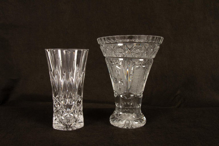 20th Century Antique Bohemian Lead Crystal Vases Set of 10 For Sale