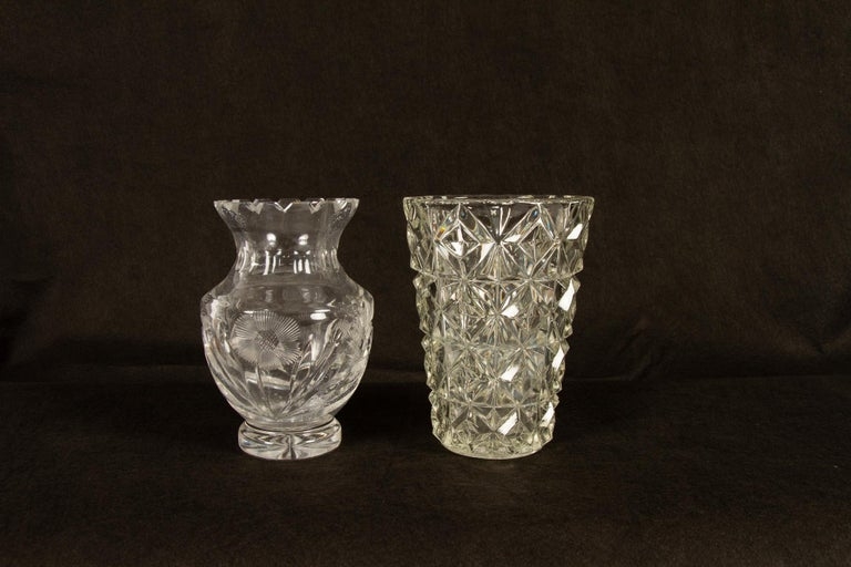 Antique Bohemian Lead Crystal Vases Set of 10 For Sale 3