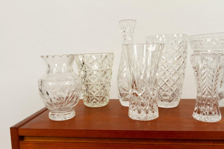 Antique Bohemian Lead Crystal Vases Set of 10 For Sale 4