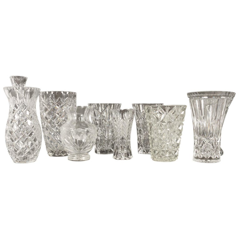 Antique Bohemian Lead Crystal Vases Set of 10 For Sale