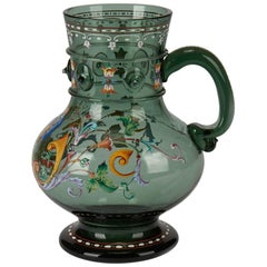 Antique Bohemian Moser Enameled Glass Beer Stein, 19th Century