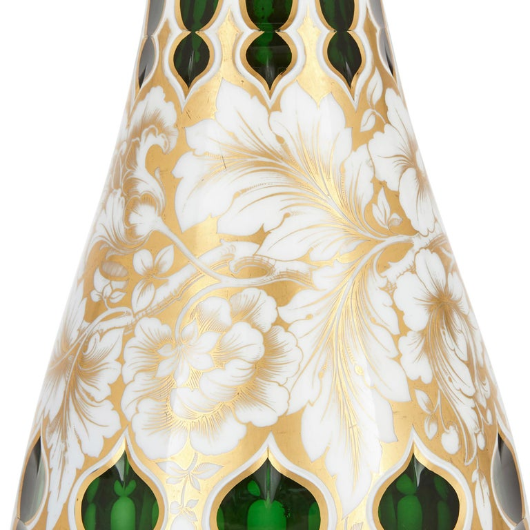 Enameled Antique Bohemian Overlay and Gilt Green Vase For Sale