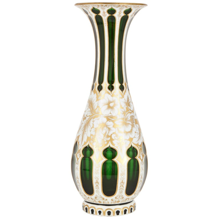 Antique Bohemian Overlay and Gilt Green Vase For Sale
