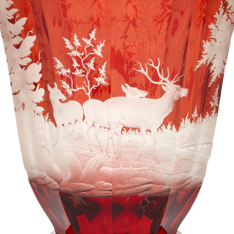 Engraved Antique Bohemian Red Glass Goblet For Sale