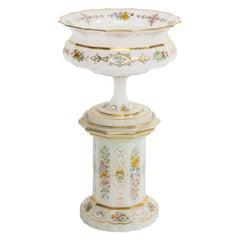 Antique Bohemian White Opaline Centerpiece Resting on a White Opaline Plinth