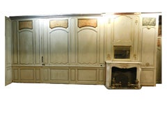 Antique Boiserie in Gray-Green Lacquered Wood, Gilded Friezes, 1700 Paris