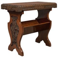 Antique Book Trough Side Table, Oriental Walnut, circa 1910