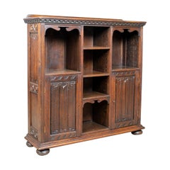 Antique Bookcase Cabinet, Oak, Gothic Overtones, Robertson and Coleman