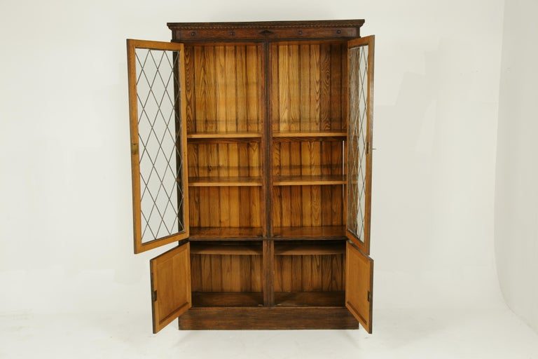 Antique Bookcase Leaded Glass Bookcase Display Cabinet Arts And Crafts B1356