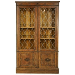 Antique Bookcase, Leaded Glass Bookcase, Display Cabinet, Arts and Crafts, B1356