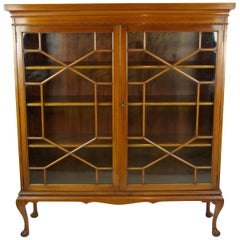 Antique Bookcase, Walnut Display Cabinet, 2 Astragal Doors, Antiques, B1254