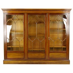 Antique Bookcase, Walnut Display Cabinet, 3 Door Bookcase, Scotland 1900, B1275