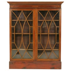 Antique Bookcase, Inlaid Bookcase, Display Cabinet, Scotland, 1910