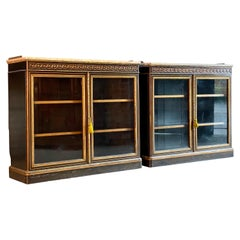 Antique Bookcases Lamb of Manchester Walnut Pair of Cabinets, circa 1850