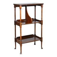 Antique, Bookshelf, Mahogany Stand, Three-Tier Whatnot, Regency Revival